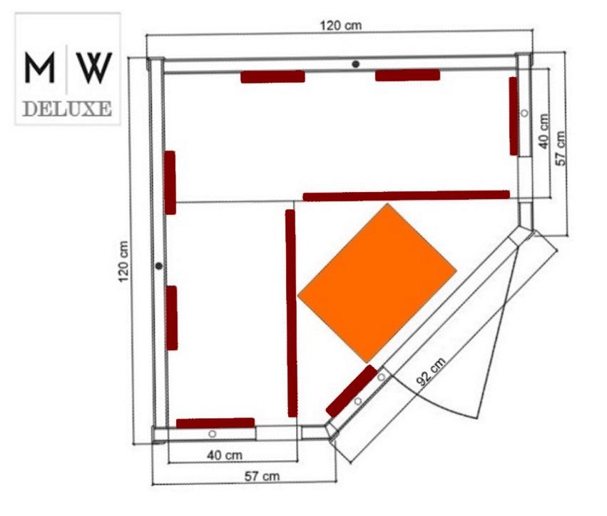 infrarotkabine courchevel 120 eck mit hochleistungsstrahlern. Black Bedroom Furniture Sets. Home Design Ideas